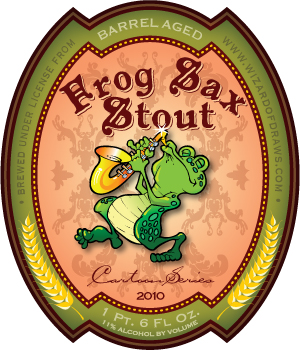 Cartoon Drink Label Frog Sax Stout